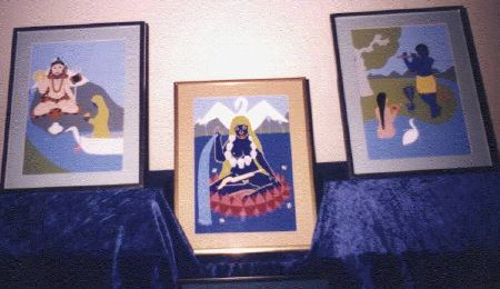 Three framed paintings