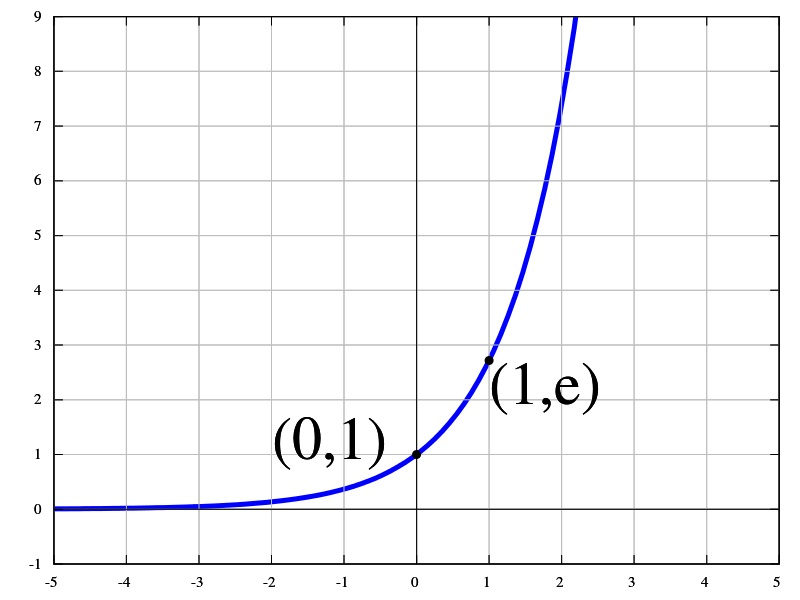 The exponential function graphs as a rising curve.